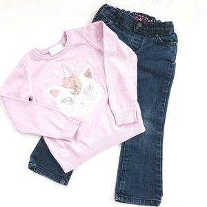 The Children's Place Unicorn Sweater with Jeans